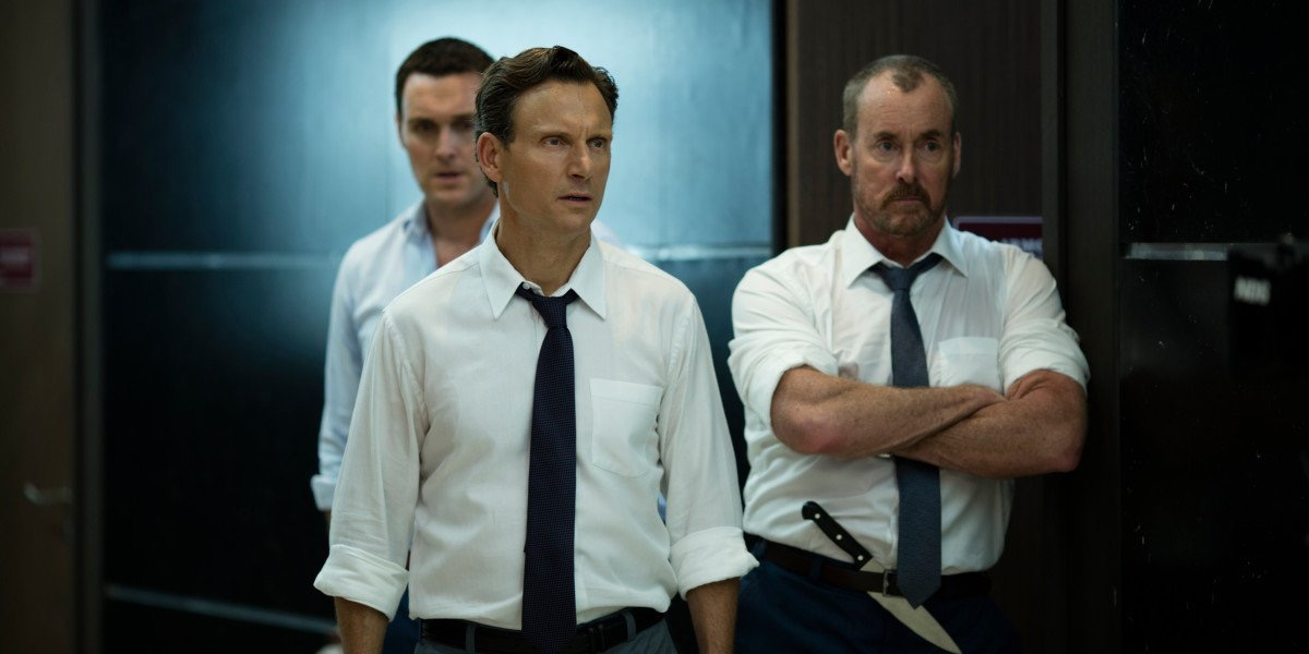 Tony Goldwyn, John C. McGinley, and Owain Yeoman in The Belko Experiment (2016)