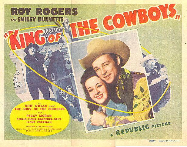 Roy Rogers, Smiley Burnette, and Peggy Moran in King of the Cowboys (1943)