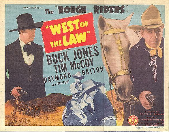 Tim McCoy, Raymond Hatton, Buck Jones, Harry Woods, and Silver in West of the Law (1942)