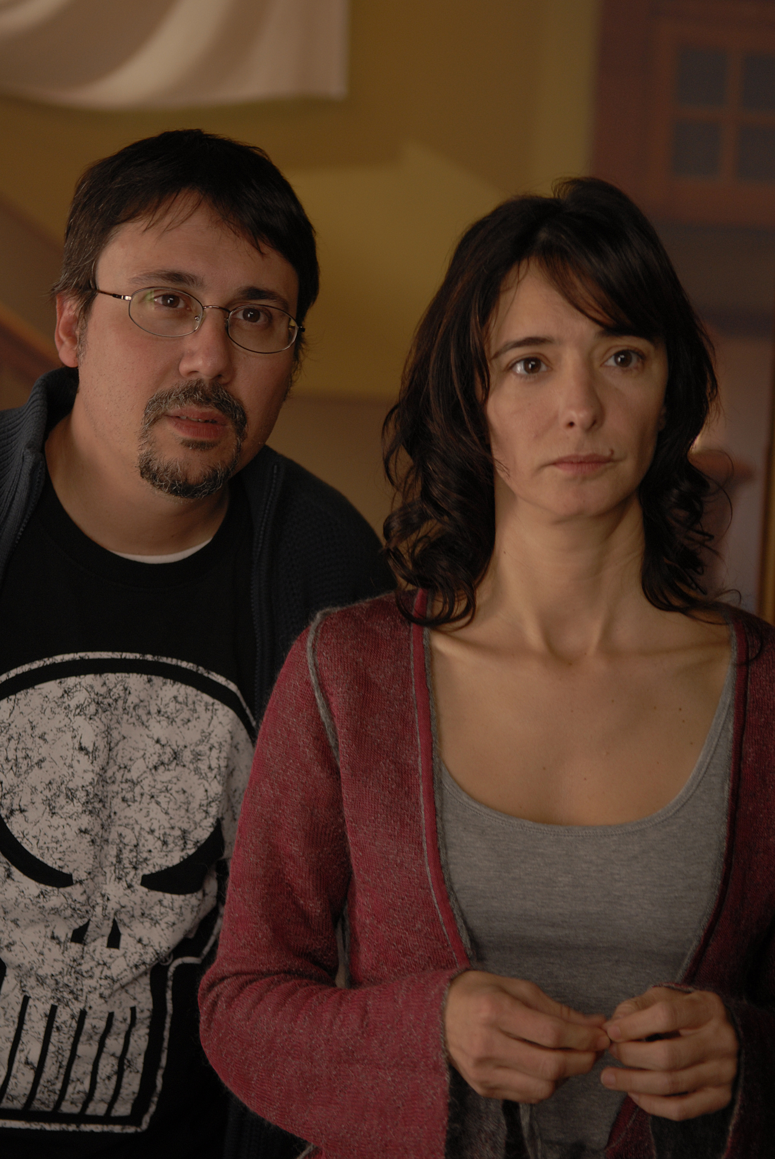 Elio Quiroga directing Ana Torrent shooting NO-DO, 2007