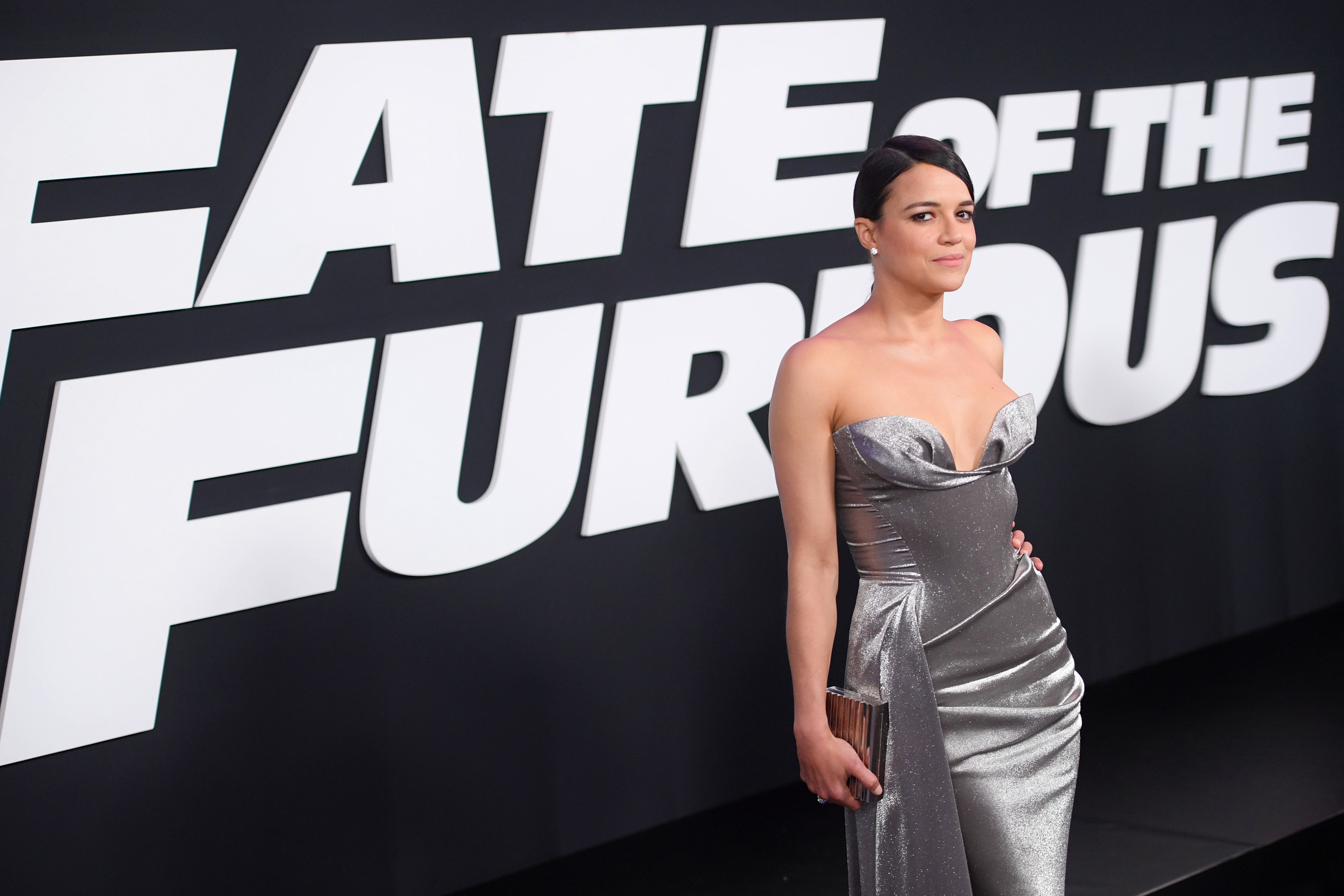 Michelle Rodriguez at an event for The Fate of the Furious (2017)
