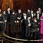 Bong Joon Ho, Kang-ho Song, Sun-kyun Lee, Yeo-jeong Cho, Yang-kwon Moon, Ha-jun Lee, So-dam Park, and Jin-won Han at an event for The Oscars (2020)