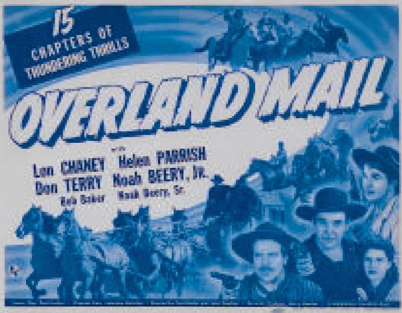 Noah Beery Jr., Lon Chaney Jr., Helen Parrish, and Don Terry in Overland Mail (1942)