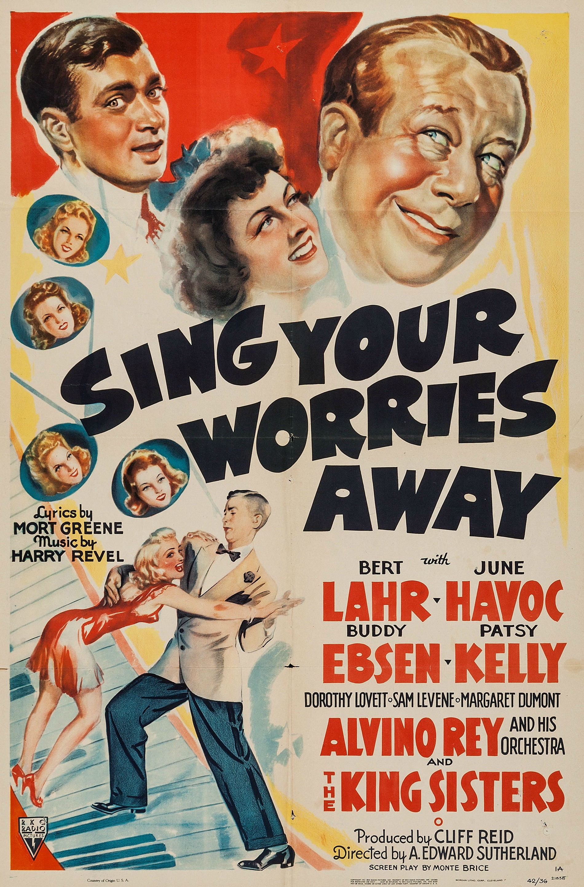Buddy Ebsen, June Havoc, Patsy Kelly, Bert Lahr, Sam Levene, Dorothy Lovett, and Alvino Rey in Sing Your Worries Away (1942)