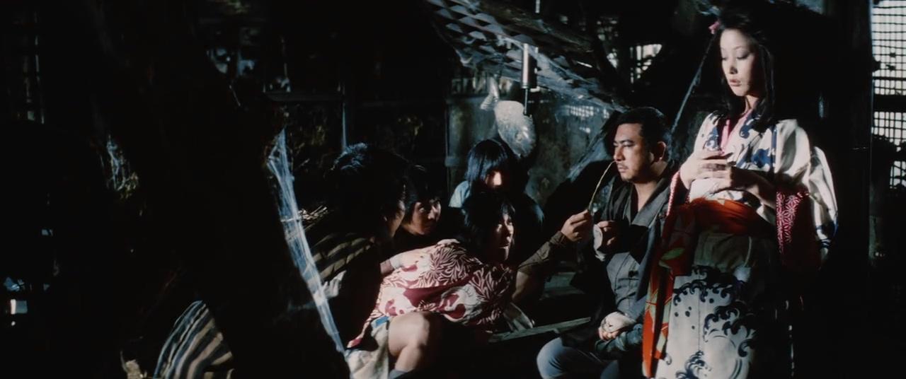 Shintarô Katsu, Shirô Kishibe, Osamu Sakai, and Rie Yokoyama in Shin Zatôichi monogatari: Kasama no chimatsuri (1973)