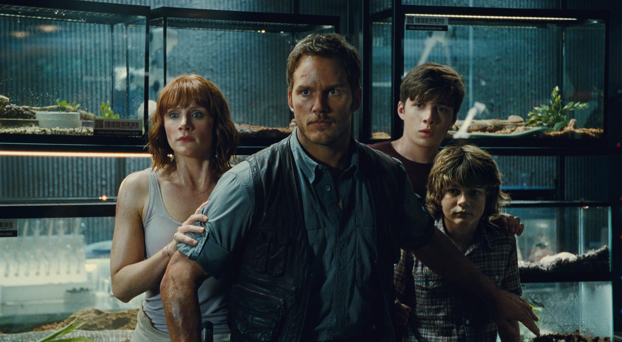 Bryce Dallas Howard, Chris Pratt, Ty Simpkins, and Nick Robinson in Jurassic World (2015)