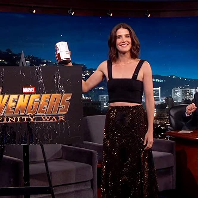 Jimmy Kimmel and Cobie Smulders at an event for Avengers: Infinity War (2018)