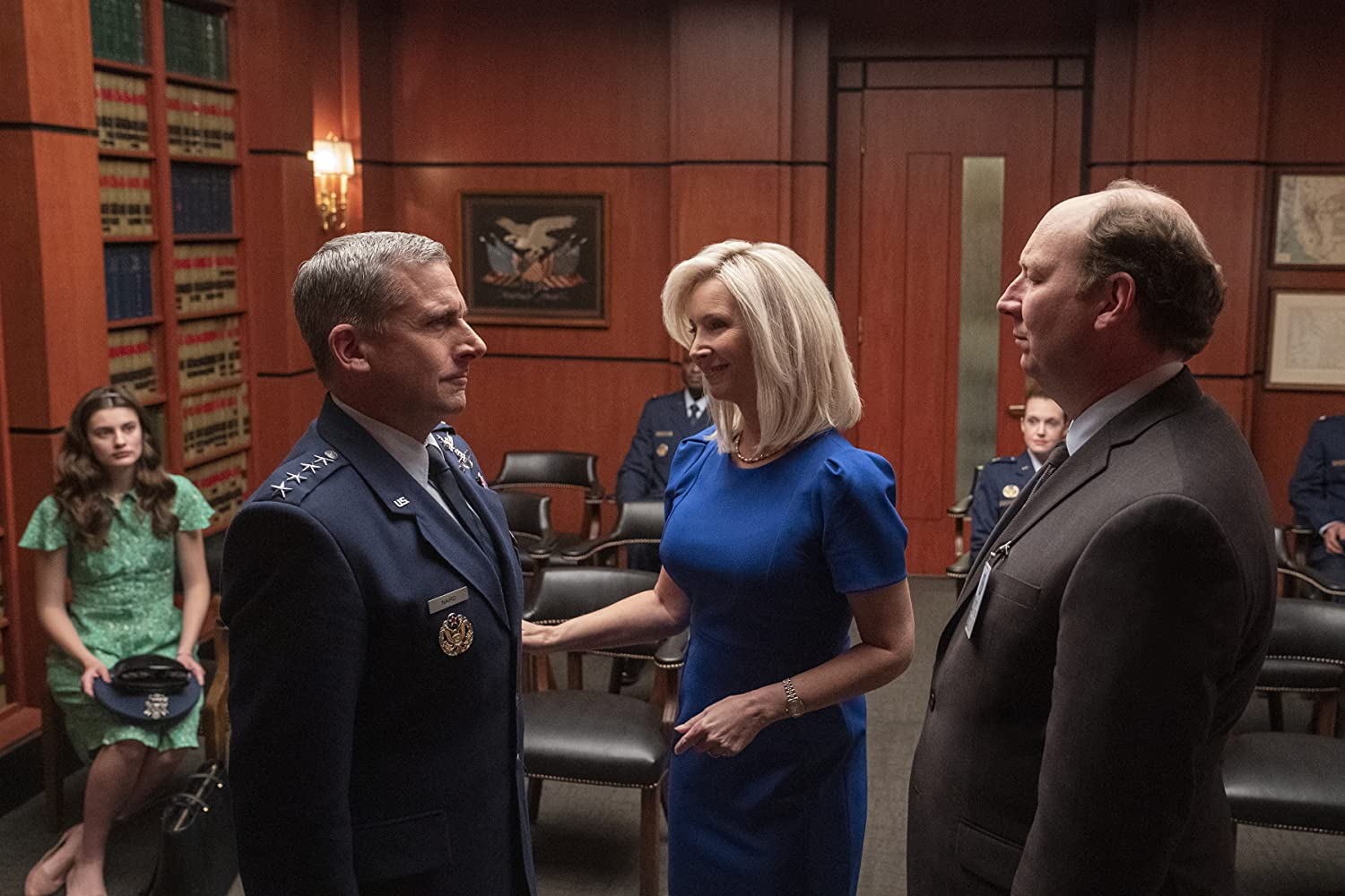 Lisa Kudrow, Steve Carell, Dan Bakkedahl, and Diana Silvers in Space Force (2020)