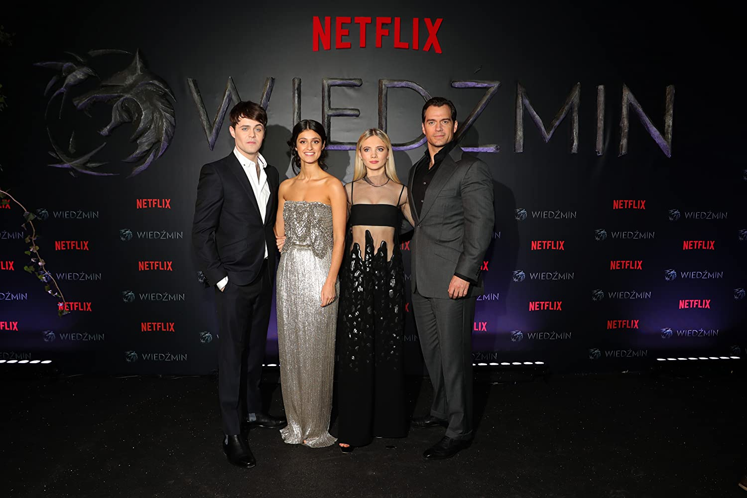 Henry Cavill, Joey Batey, Freya Allan, and Anya Chalotra at an event for The Witcher (2019)