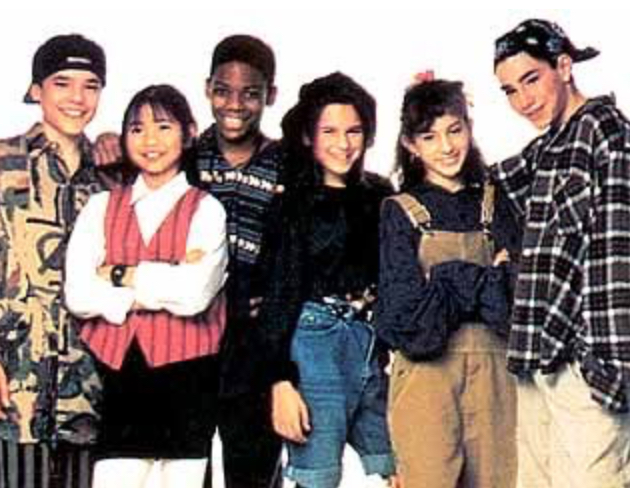 Todd Alexander, Blaze Berdahl, David López, Mayteana Morales, Tram-Anh Tran, and Sheldon Turnipseed in Ghostwriter (1992)