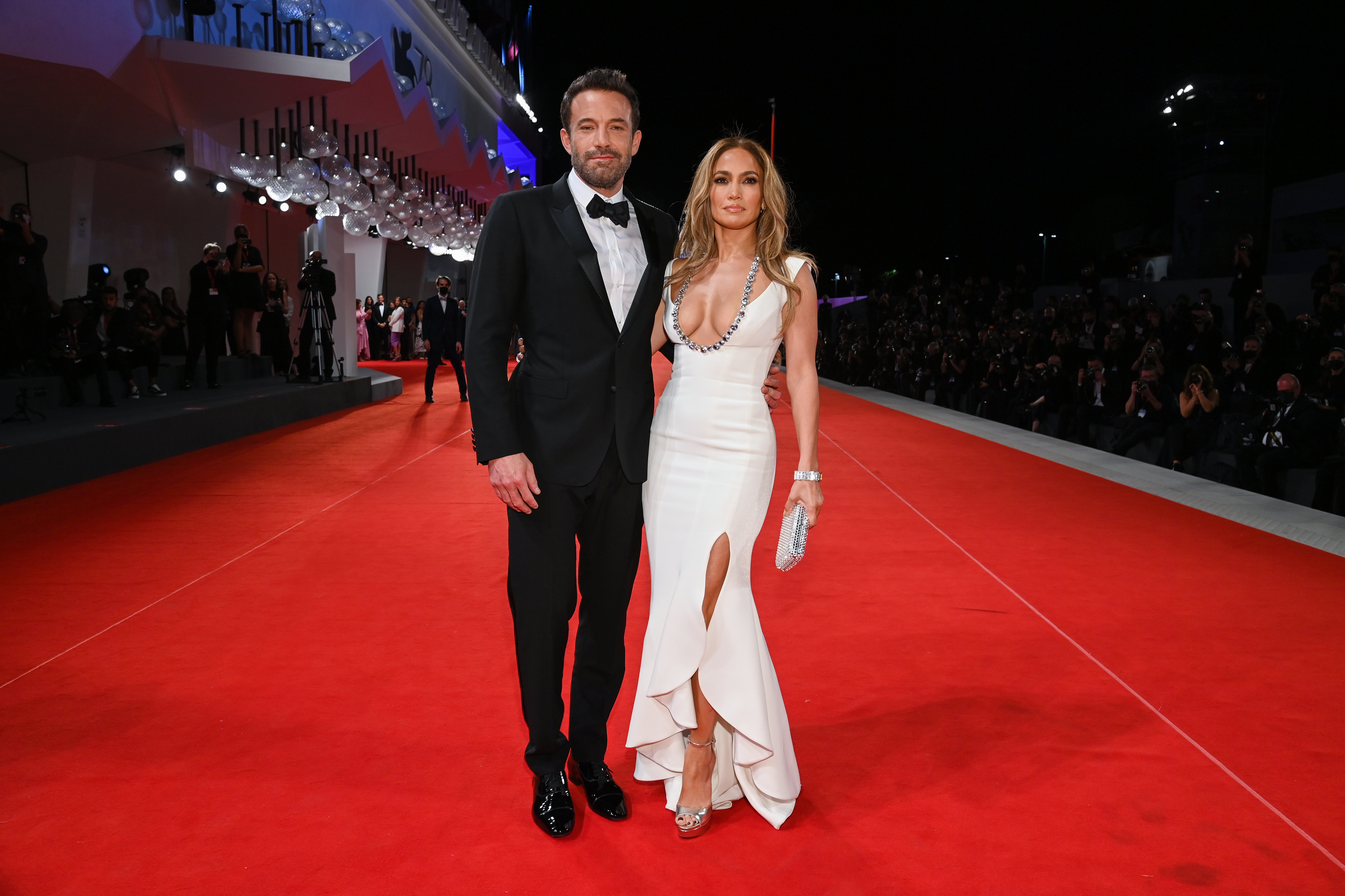 Jennifer Lopez and Ben Affleck at an event for The Last Duel (2021)