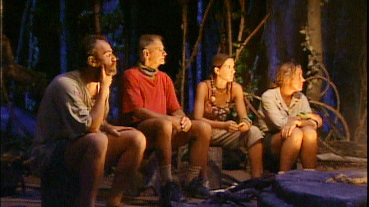 Rudy Boesch, Richard Hatch, Susan Hawk, and Kelly Wiglesworth in Survivor (2000)