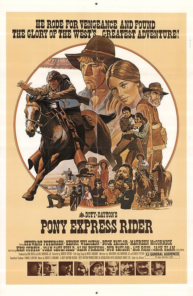 Jack Elam, Ken Curtis, Maureen McCormick, Stewart Petersen, Buck Taylor, Dub Taylor, and Henry Wilcoxon in Pony Express Rider (1976)