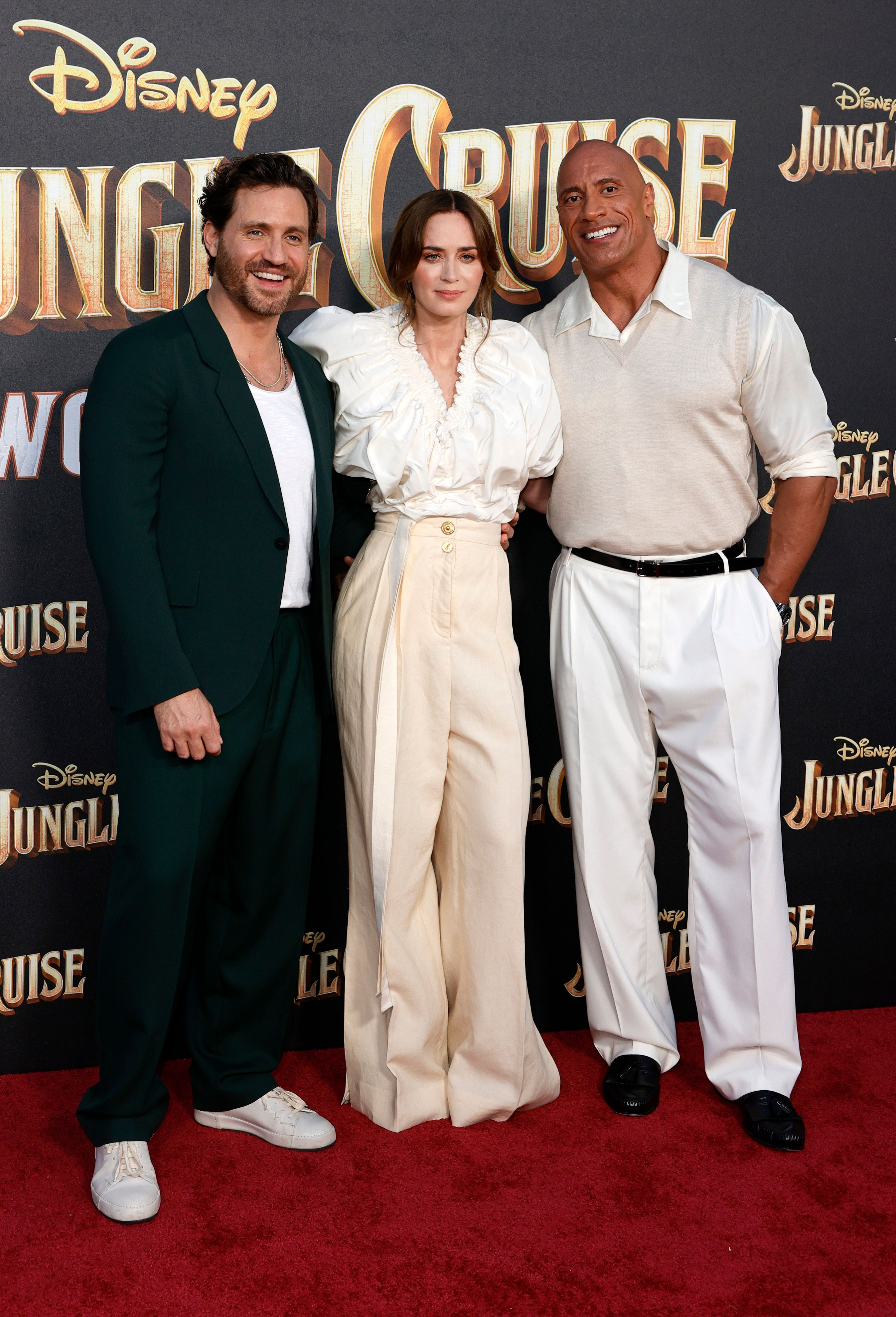 Dwayne Johnson, Edgar Ramírez, and Emily Blunt at an event for Jungle Cruise (2021)
