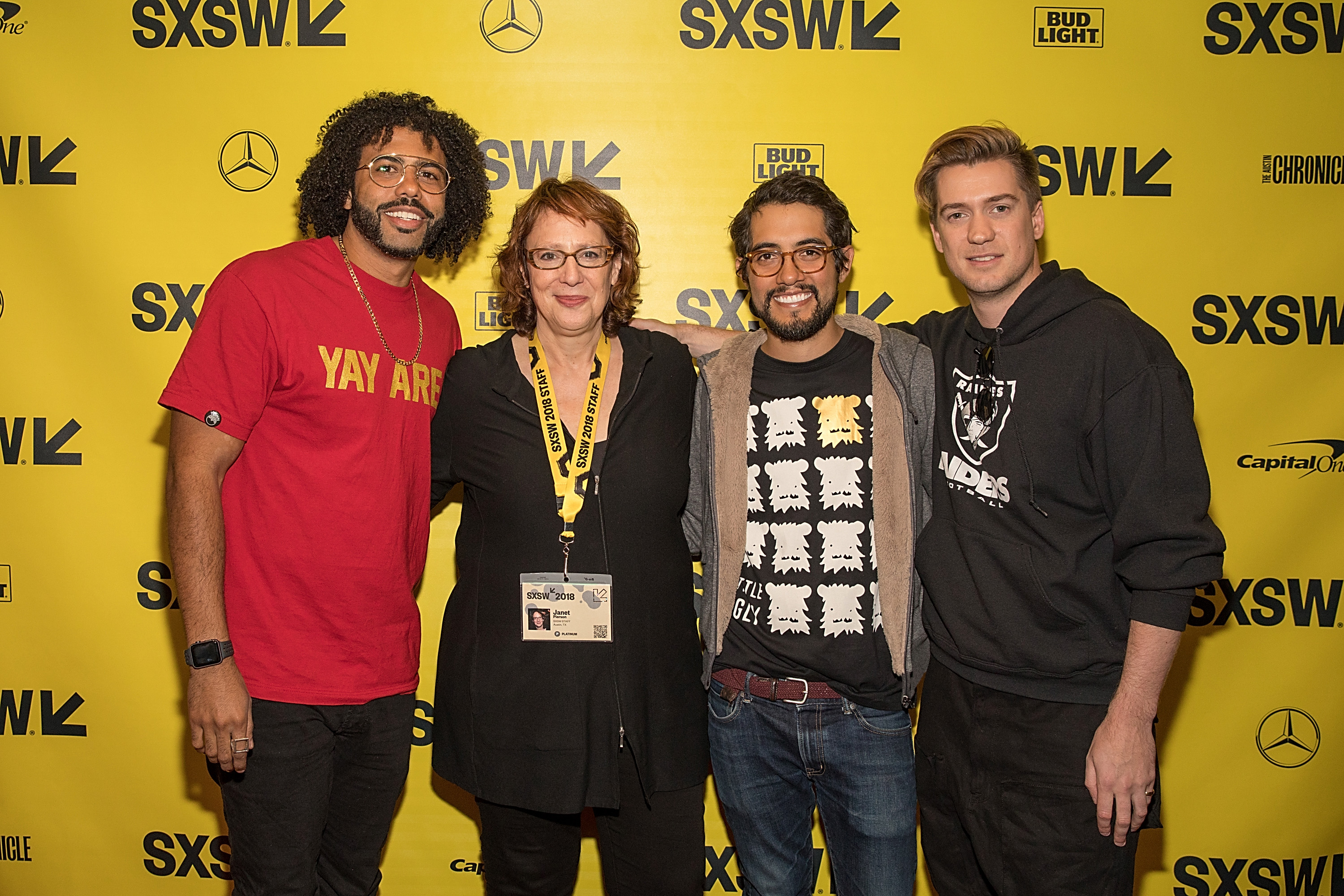 Janet Pierson, Rafael Casal, Carlos López Estrada, and Daveed Diggs at an event for Blindspotting (2018)