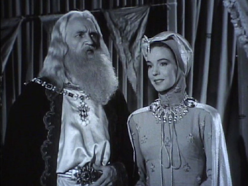 Pat Barton and William Fawcett in The Adventures of Sir Galahad (1949)