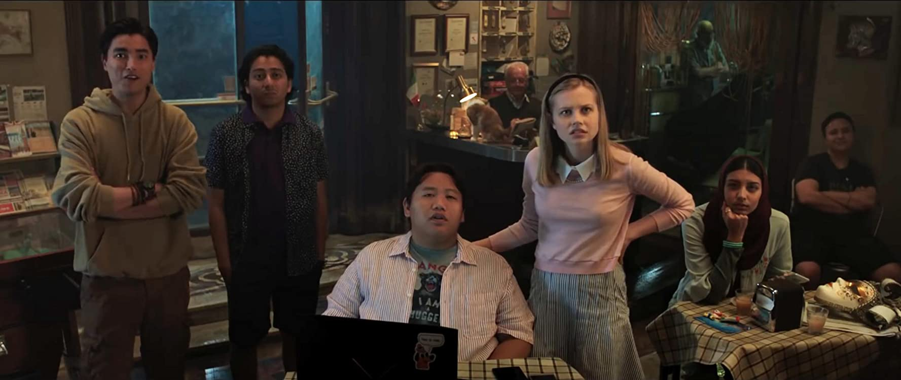 Zach Barack, Tony Revolori, Remy Hii, Angourie Rice, and Jacob Batalon in Spider-Man: Far from Home (2019)