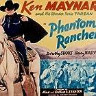Ted Adams, Carl Mathews, Ken Maynard, Dave O'Brien, James Sheridan, and Tarzan in Phantom Rancher (1940)