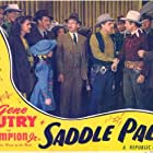 Gene Autry, Irving Bacon, Tom London, Francis McDonald, Damian O'Flynn, Lynne Roberts, and Jean Van in Saddle Pals (1947)