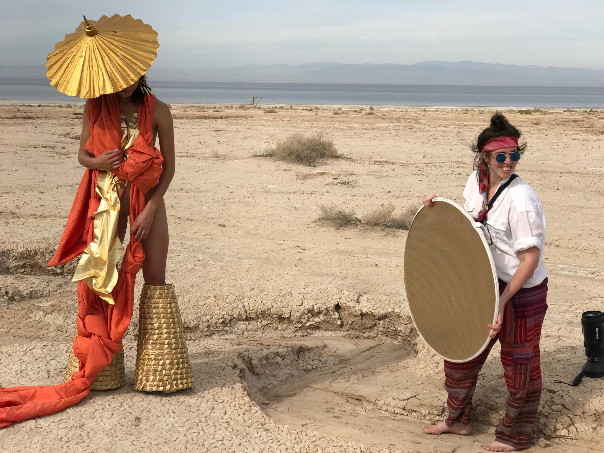 On set for GARB Salton Sea fashion photo/video editorial shoot in LA