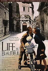 Roberto Benigni, Nicoletta Braschi, and Giorgio Cantarini in La vita è bella (1997)