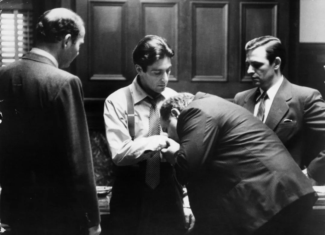 Al Pacino, Richard Bright, Richard S. Castellano, and Tom Rosqui in The Godfather (1972)