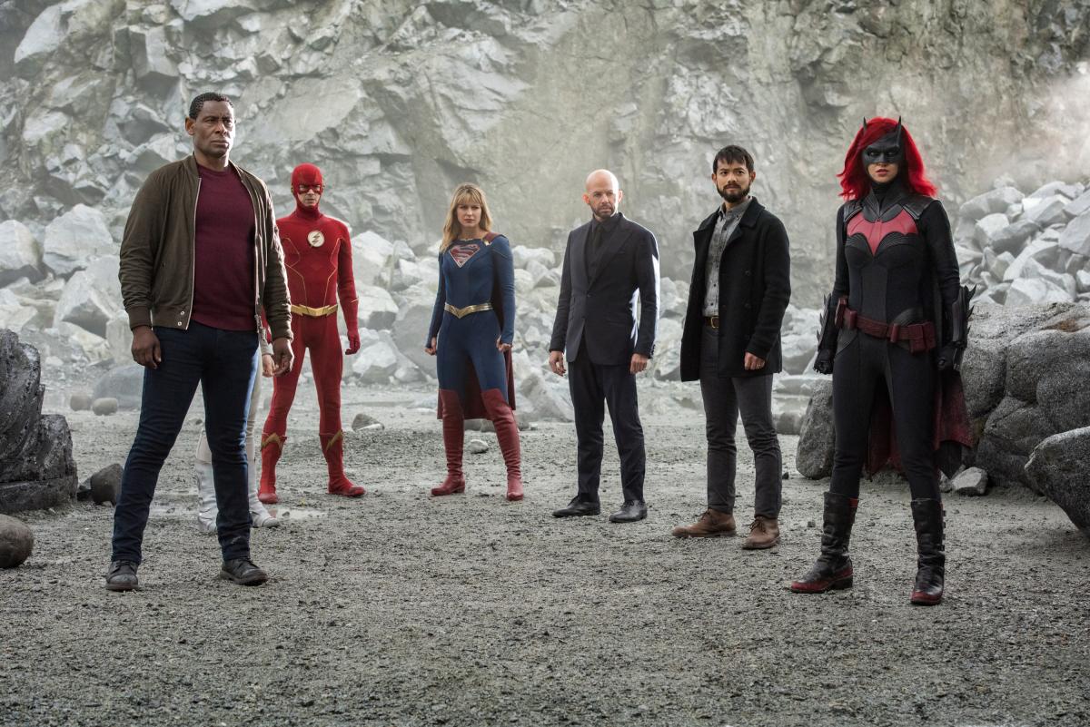 Jon Cryer, David Harewood, Osric Chau, Caity Lotz, Melissa Benoist, Grant Gustin, and Ruby Rose in Arrow (2012)