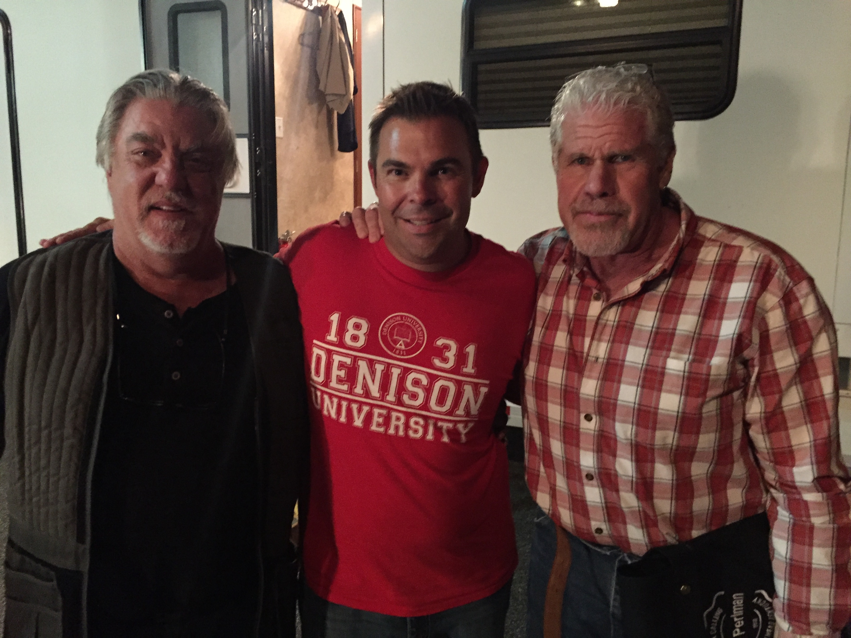 With Bruce McGill and Ron Perlman on the set of London Calling