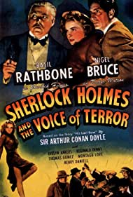 Basil Rathbone, Evelyn Ankers, and Nigel Bruce in Sherlock Holmes and the Voice of Terror (1942)