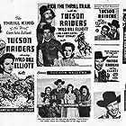 Robert Blake, Bill Elliott, Alice Fleming, George 'Gabby' Hayes, and Peggy Stewart in Tucson Raiders (1944)