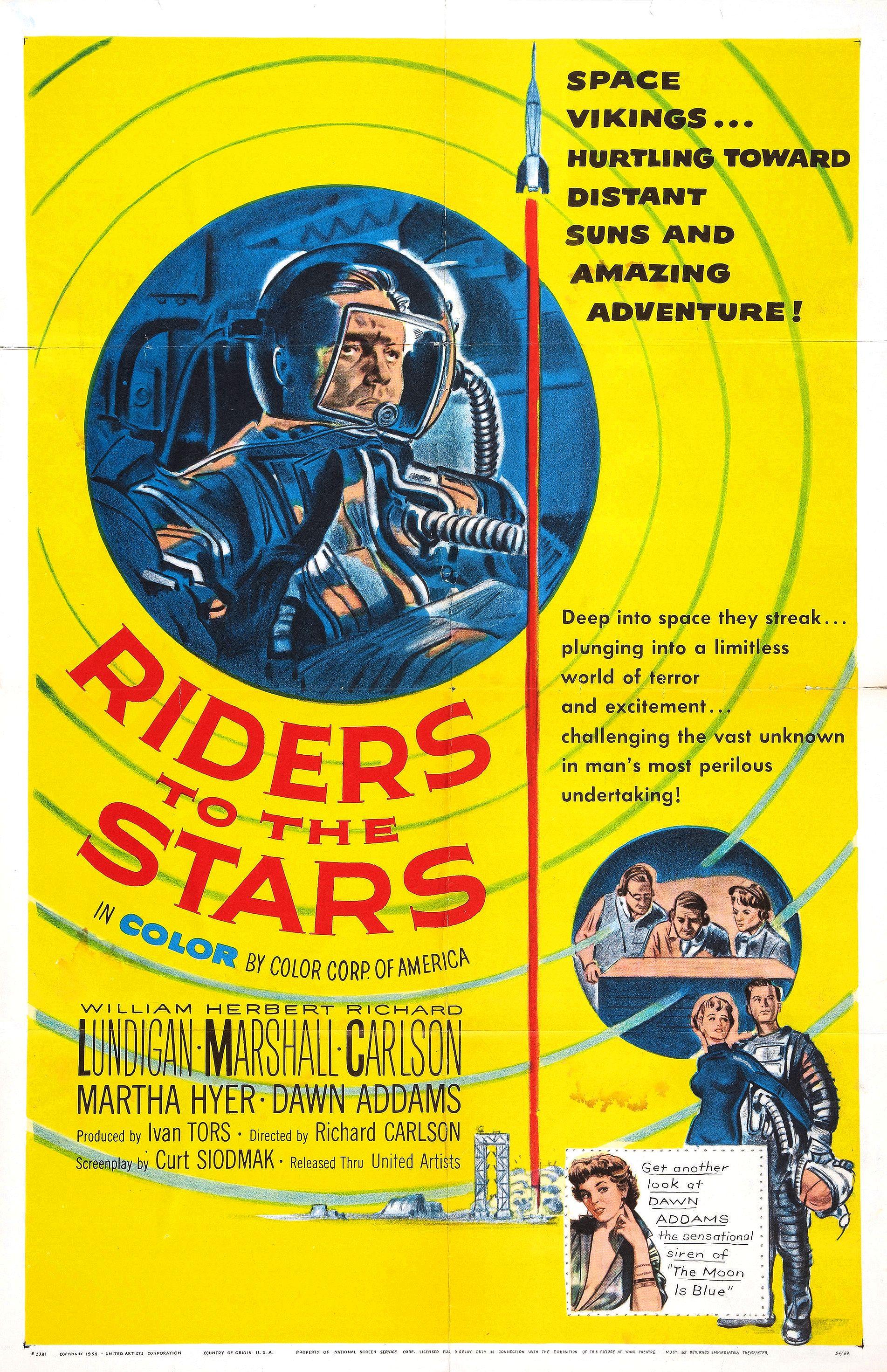 Herbert Marshall, Richard Carlson, Martha Hyer, and William Lundigan in Riders to the Stars (1954)
