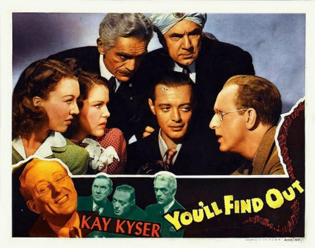 Peter Lorre, Boris Karloff, Bela Lugosi, Kay Kyser, Helen Parrish, and Ginny Simms in You'll Find Out (1940)