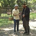 Patrick Roper and Director Mark Amin discussing a scene in Emperor.