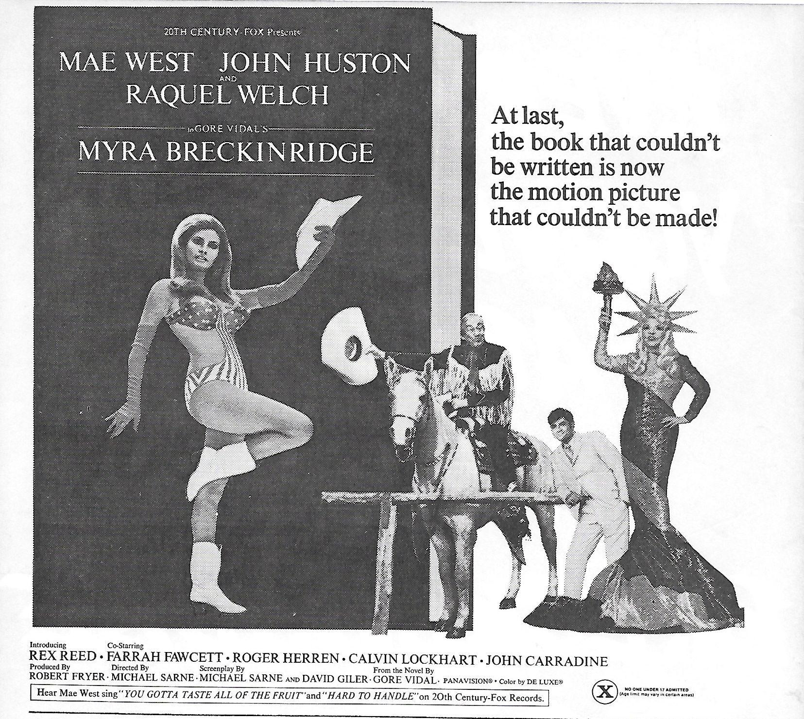 Raquel Welch, John Huston, Rex Reed, and Mae West in Myra Breckinridge (1970)
