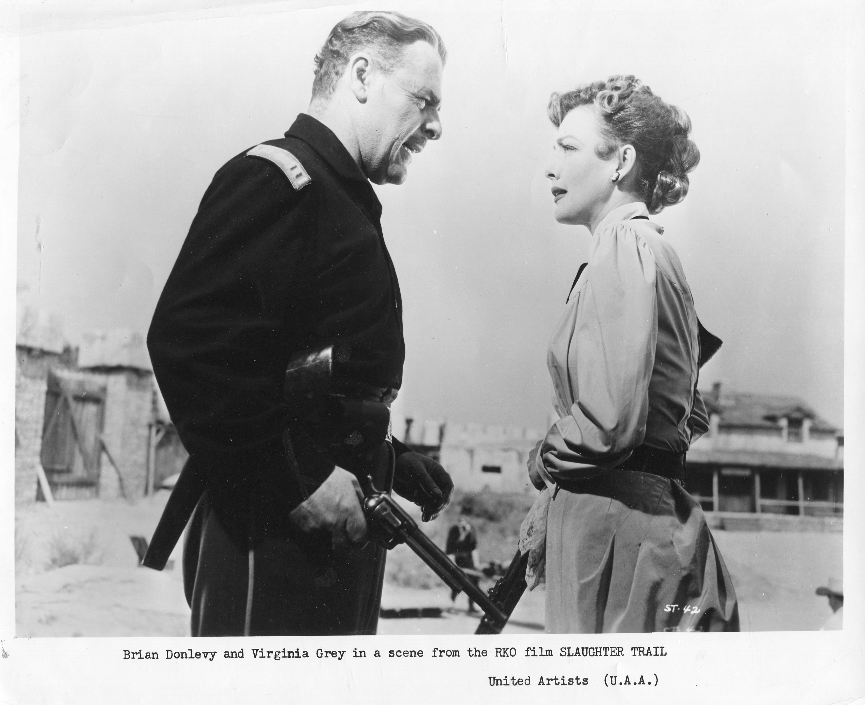 Brian Donlevy and Virginia Grey in Slaughter Trail (1951)