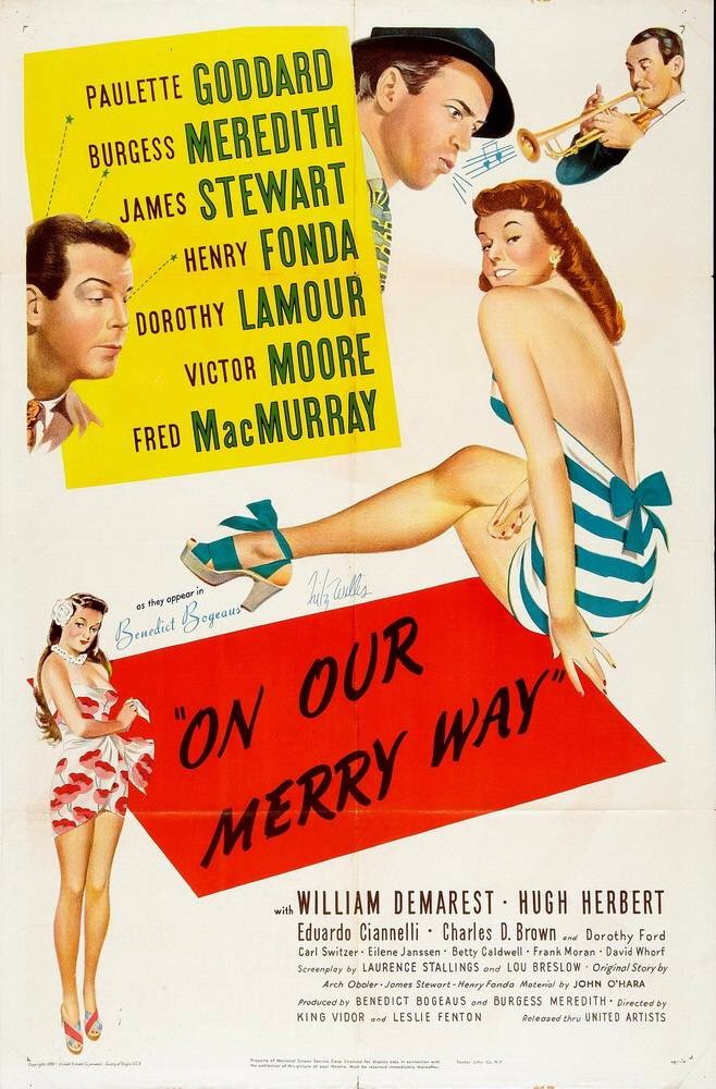 James Stewart, Paulette Goddard, Harry James, Dorothy Lamour, and Fred MacMurray in On Our Merry Way (1948)