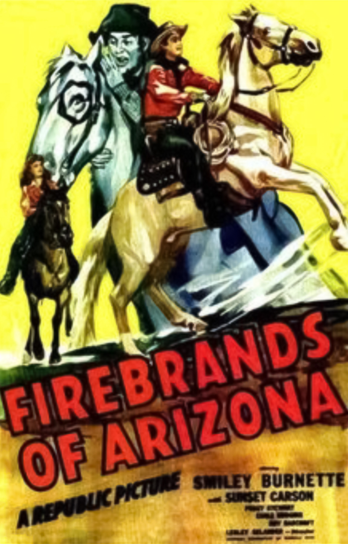 Smiley Burnette, Sunset Carson, and Peggy Stewart in Firebrands of Arizona (1944)