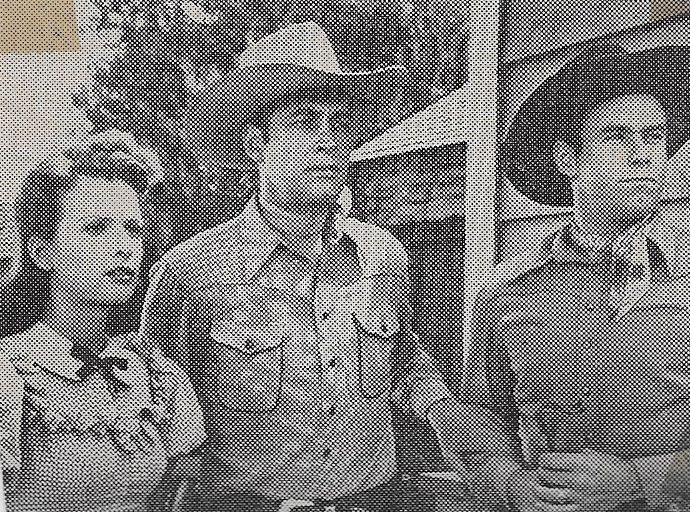 Carole Mathews, Tex Harding, and Charles Starrett in Outlaws of the Rockies (1945)