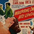 Herbert Lom, Richard Carlson, and Greta Gynt in Whispering Smith Hits London (1952)
