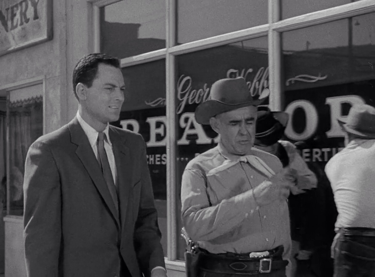 John Agar and Nestor Paiva in Tarantula (1955)