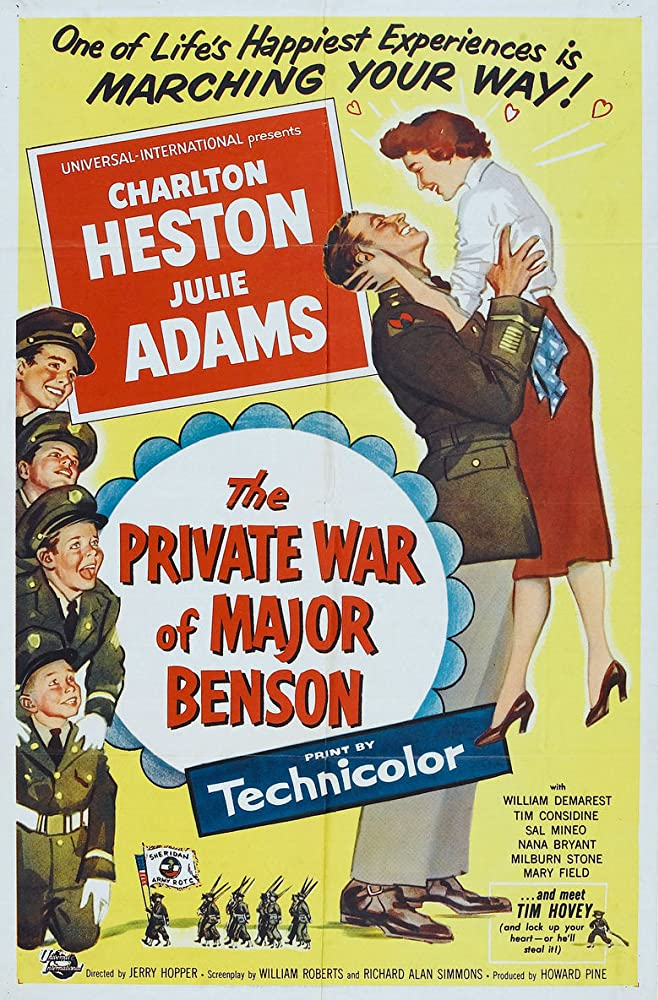 Charlton Heston, Sal Mineo, Julie Adams, Tim Considine, Tim Hovey, and Joey D. Vieira in The Private War of Major Benson (1955)