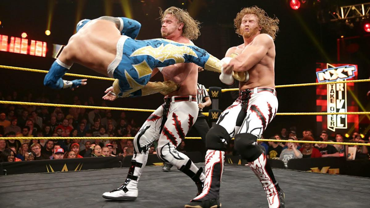 Matthew Adams, Jorge Arias, Emanuel Rodriguez, and Cory Weston in NXT Takeover: Rival (2015)