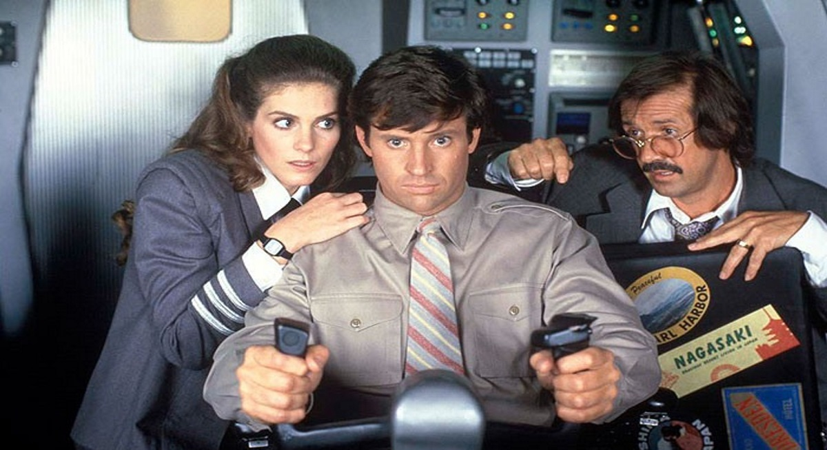 Robert Hays, Sonny Bono, and Julie Hagerty in Airplane II: The Sequel (1982)