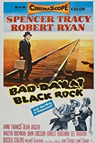 Spencer Tracy, Anne Francis, and Robert Ryan in Bad Day at Black Rock (1955)
