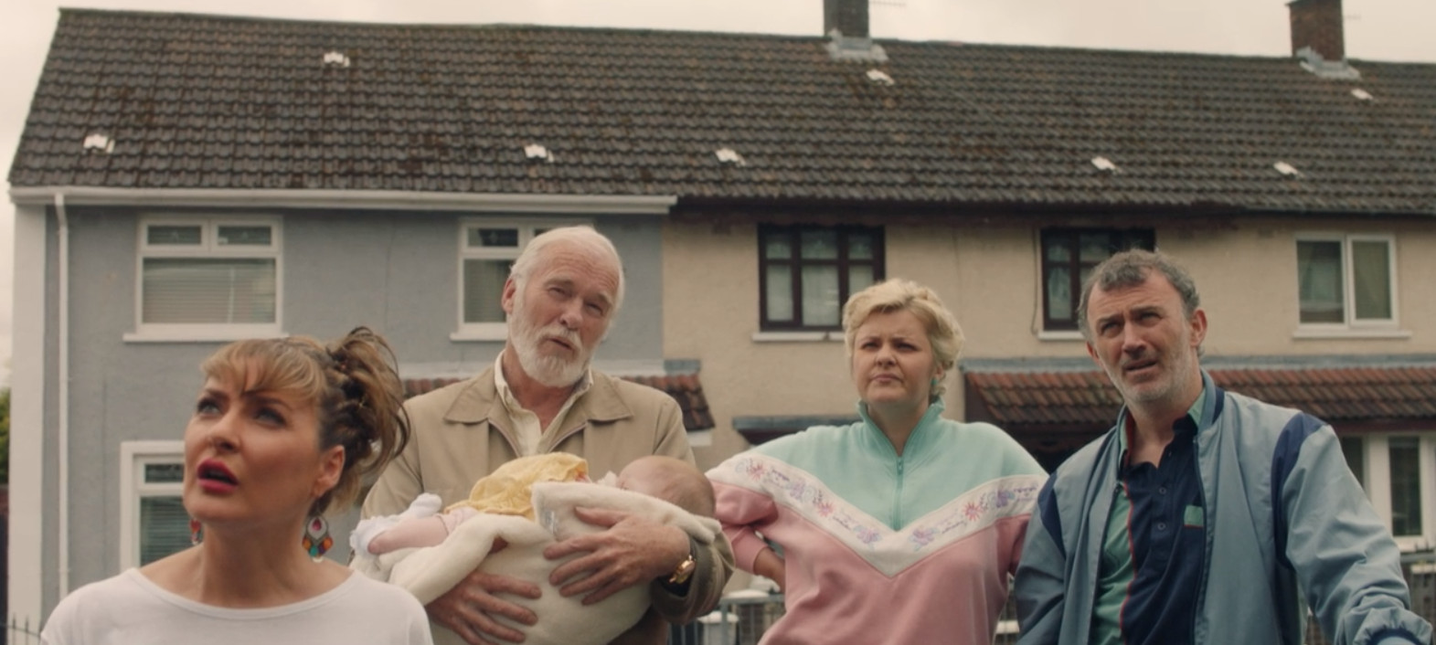 Kathy Kiera Clarke, Ian McElhinney, Tara Lynne O'Neill, and Tommy Tiernan in Derry Girls (2018)