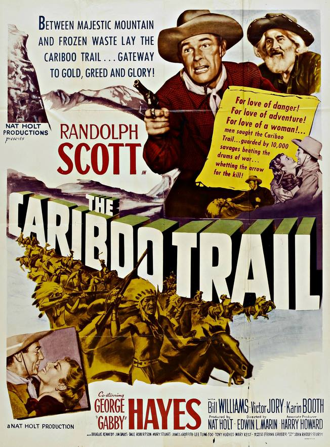 Randolph Scott, Karin Booth, and George 'Gabby' Hayes in The Cariboo Trail (1950)