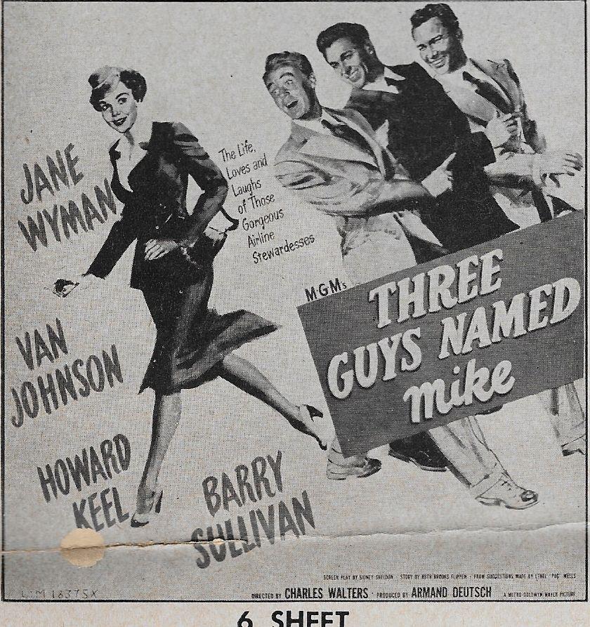 Van Johnson, Howard Keel, Barry Sullivan, and Jane Wyman in Three Guys Named Mike (1951)