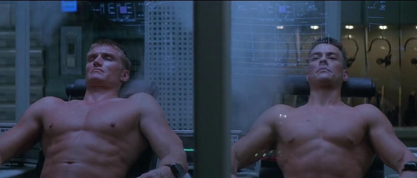 Dolph Lundgren and Jean-Claude Van Damme in Universal Soldier (1992)