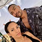 Still of Charles Michael Davis & Candace Smith on set of 'Same Time, Next Christmas'