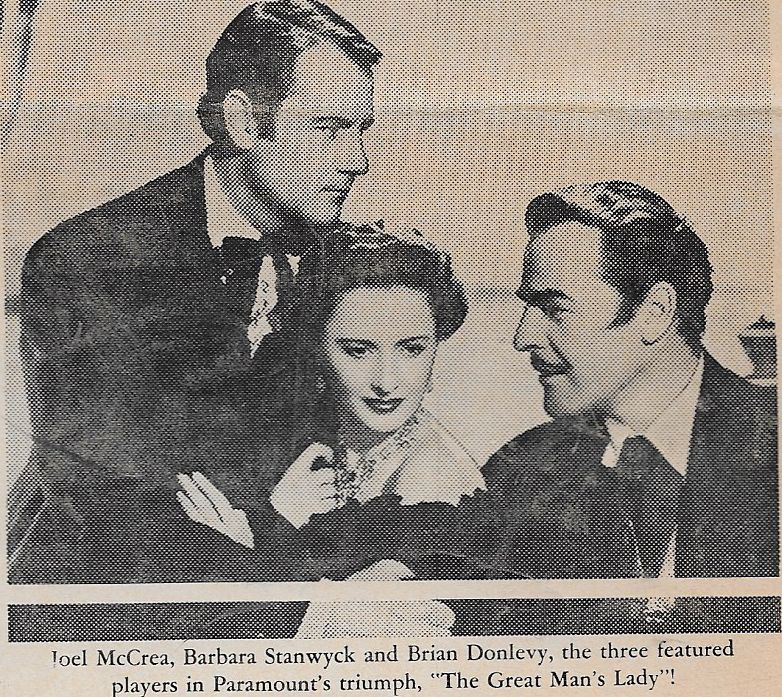 Barbara Stanwyck, Brian Donlevy, and Joel McCrea in The Great Man's Lady (1941)